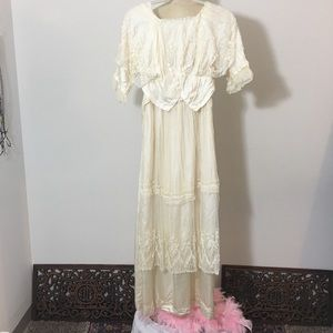 Antique Silk and Lace Wedding Gown 1880's-1900's